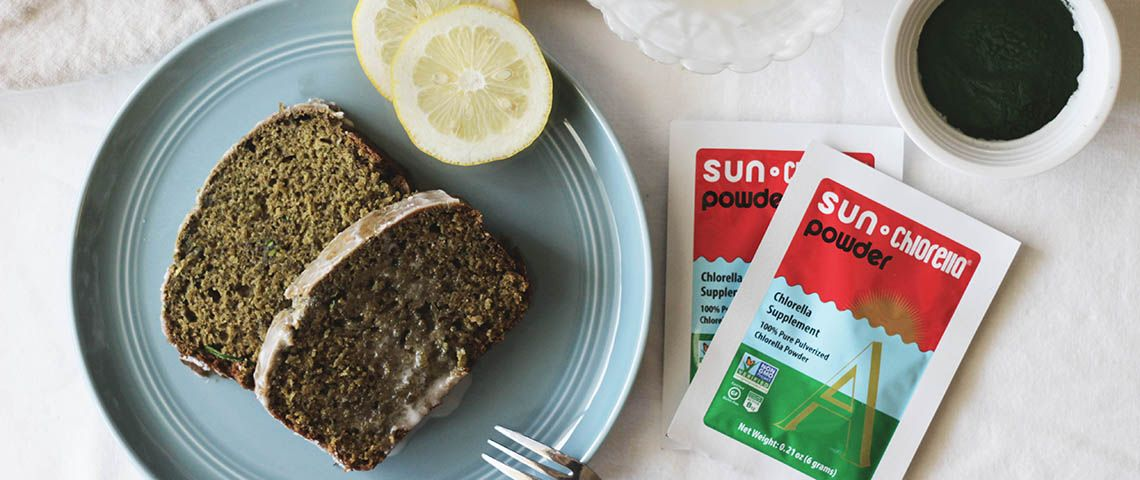 : The secret ingredient in this vegan lemon zucchini bread? Chlorella, the only known plant-based source of active B12.