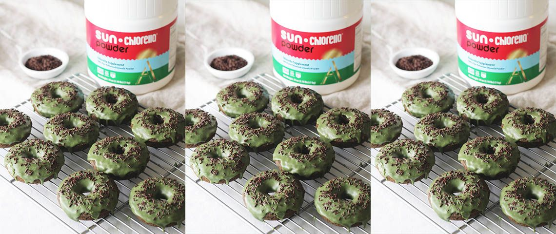 Adding Sun Chlorella Powder to cocoa donuts gives these treats a superfood punch.