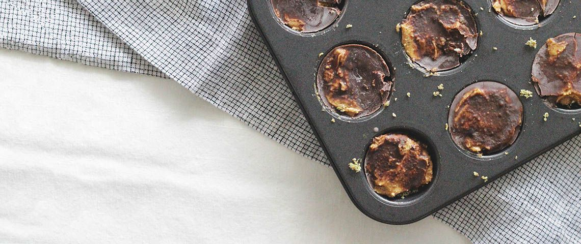 Fight off stress by indulging in no-bake chlorella cocoa almond butter cups.